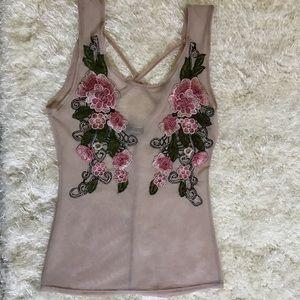 Tops - Flowered sheer top
